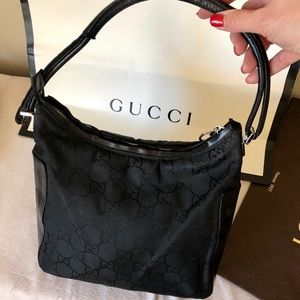 GUCCI Black GG Monogram Canvas Shoulder Bag Auth